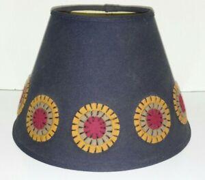 "Primitive Folk Fabric Lamp Shade 7""x 9"" Blue Gold Felt Stitched Circles"