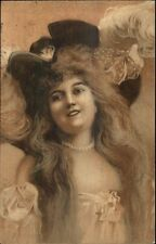 Beautiful Woman Pearls Lowcut Dress Large Hat w/ Feathers c1900 Postcard