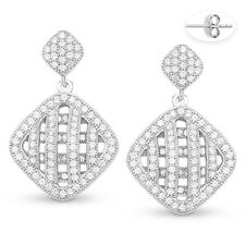 Micro-Pave Cubic Zirconia CZ Crystal Dangling Drop .925 Sterling Silver Earrings