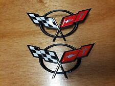 97-04 Corvette C5 Pair Front and Rear Bumper Deck Emblems New Emblem Set