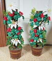 "Vintage Mid Century Pair Plastic White Poinsettia W/ Holly & Berry Plants 14"""