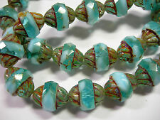 15 12x10mm Czech Glass Faceted Aqua and White Picasso Turbine Beads