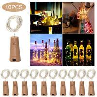 10X bouteille guirlande lumineuse 20LED Decor Party Xmas Wine Fairy bouchon SH