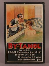 Swiss Art Deco Advertising Cardboard Poster for BY-TANOL Nude Girl in Bath
