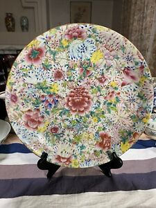 Superb Antique Chinese Famille Rose Hundreds Floral Plate Charger 33cm