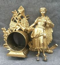 Antique french clock ornament and case 19th century gold tone woman farmer