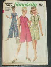 Simplicity 7377 Sewing Pattern Pantdress Vintage 1967 BOHO Size 16 1/2  Cut