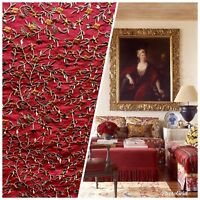 SWATCH Designer 100% Silk Dupioni Embroidered Fabric - Red Floral
