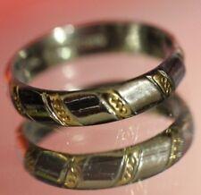 Mens Platinum & 18k Gold Wedding Band Ring Size 9 6.2 grams Art Carved