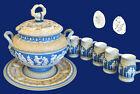 Villeroy&Boch Mettlach Stoneware Punchbowl _tray_5 cups. Blue, wht-cream $500.00
