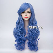 Long 65CM Curly Fashion Style Party Lolita Blue Cosplay Full Hair Wig + Wig Cap