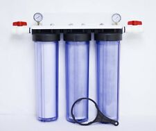 Triple BB Whole House Water Filter - Clear Housings -1 Sediment 2 Carbon BV&G