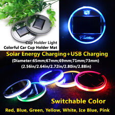 1pcs Solar Energy Coaster Car LED Light Lamp Part Accessories For Cadillac Parts