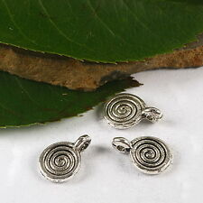10 x  Tibetan Silver Spiral Pagan Wiccan  Charm Pendants Jewellery Making