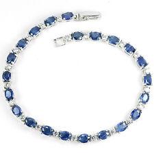 Sterling Silver 925 Genuine Rich Blue Sapphire Gemstone Bracelet 7.75 Inch