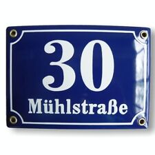Personalised enamel address plaque 15x20 cm - new - house sign number street