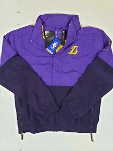 Nike LA Lakers Pullover Jacket Men Size L Purple Gold Hooded Windbreaker Jacket