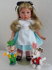 "Alice in Wonderland 18"" Girl Friend Doll AV Button -w. Disney Rabbit+Mad Hatter!"