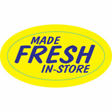 Made Fresh In-Store Labels Yellow Product Blue Imprint - 1 1/2 L x 3/4 H 1000