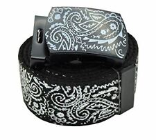 AccMall Men's Canvas Military Bandana Pattern Web Belt & Buckle 60 Inches Black