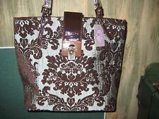 SHARIF Art Deco (Antique Gray) French Brocade Tote /Leather Trim (Orig.$199.90)
