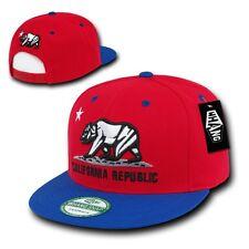 Red & Royal Blue California Republic Bear Flat Bill Snapback Snap Back Cap Hat