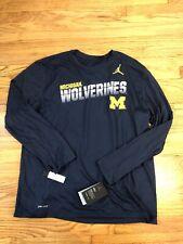 NWT Michigan Wolverines Jordan NikeDriFit Mens Long sleeve Tshirt Size Large $40