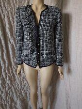 Armani Collezioni tweed boucle tartan wool mix blazer jacket size 44 IT