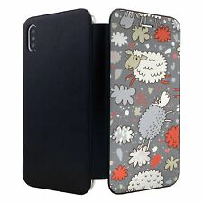 iPhone XS MAX Flip Wallet Case Cover Sheep Funny Pattern - S1502