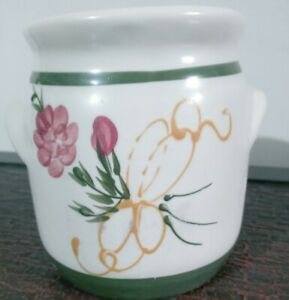 Vintage Collectible Olde Cape Cod Stoneware Hand Painted Flowers Wax Warmer