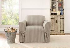 Chair Sure fit slip cover slipcover Grain sack stripe Color : Linen