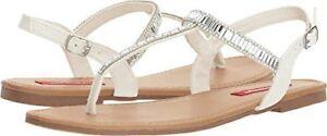 NIB Womens Thong Sandals Unionbay White Sparkly Gemstones 6 7.5 8.5