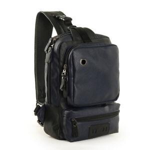 Men's Tactical Sling Bag Chest Shoulder PU Leather Crossbody Backpack Satchel ca