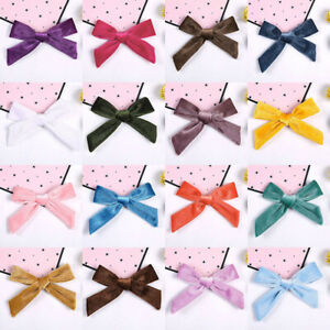 Baby Girl Solid Color Soft Velvet Bowknot Headband Kids Toddlers Hair Band Clips