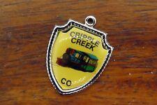 Railroad Travel Shield charm #E30 Vintage silver Cripple Creek Colorado State