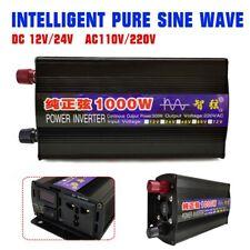 1000W Pure Sine Wave Power Inverter DC12/24V To AC110/220V Converter Intelligent
