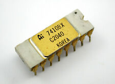 Vintage And Desirable 7410BX Gold & White Ceramic Computer Triple Nand Gate Chip