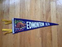 Vtg Edmonton Alberta Pennant Felt Banner 1960's Canada Souvenir AB Beaver Travel