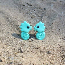 Mint Green Seahorse Earrings Sea Nautical Girls Small Summer Earrings Jewelry