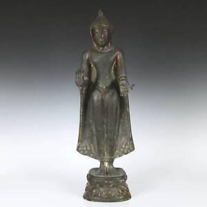 ANTIQUE STANDING BUDDHA ABHAYA NO FEAR MUDRA COPPER SCULPTURE BURMA 19TH C.
