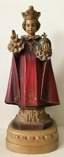 Vintage Anri Wood Carved Wooden Holy Infant Jesus Prague Religious Art Red Robe
