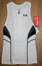 TYR Men's Small White Grey Singlet Tank Triathlon Run Jog Front Zip USA Made New