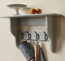 Hallway,bathroom or kitchen shelf with coat hooks