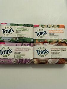 Set Of 4 TOM'S OF MAINE BEAUTY BARS 5 OZ  (Orange, Lavender, Coconut & Mint)