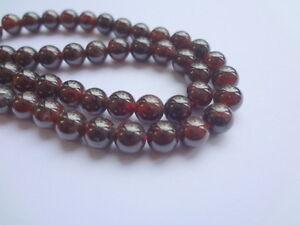 8mm Round Natural Red Garnet Semi Precious Gemstone Beads - Half Strand (24pcs)