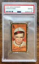 1911 T205 Gold Border Hassan Back Louis Evans St. Louis Cardinals PSA 2 Good