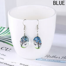 New Blue Green Red Purple Butterfly Dried Flower Glass Tree Shape Hook Earrings