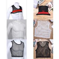 Men's See-Through Mesh T-shirt Fishnet Tank Crop Top Muscle Undershirt Club Wear