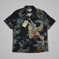 BOB DONG Dragon/Bamboo Pattern ALOHA HAWAII Men's Vintage Short Sleeve Shirt Top