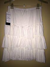 Karen Kane Off White Ruffle Tiered Stretch Skirt L